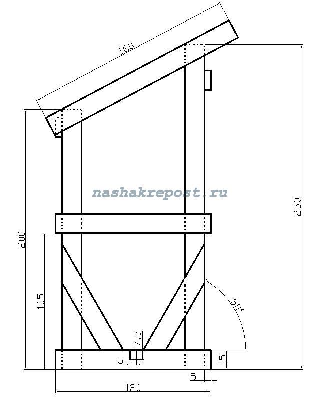чертеж дачного туалета - профиль