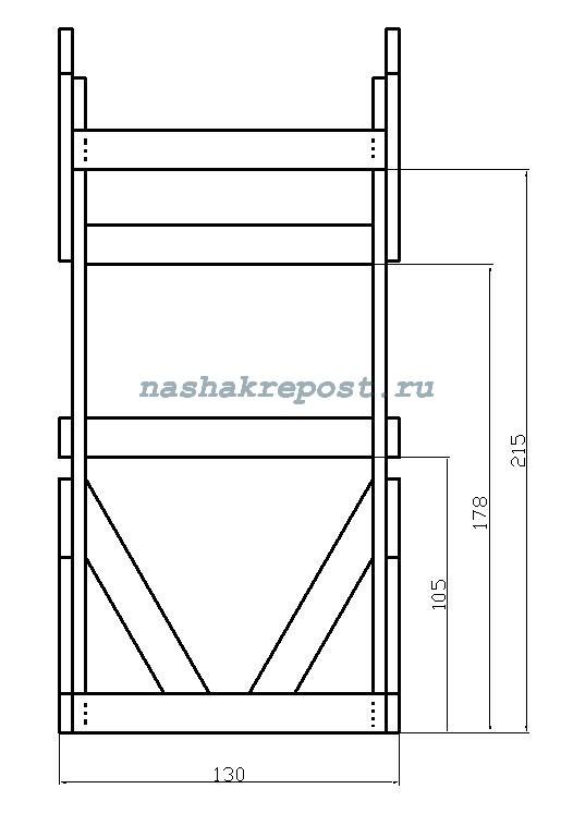чертеж дачного туалета - фас