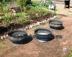 клумбы из шин для сада