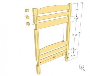Боковая сторона двухуровневой кровати