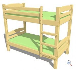 Чертеж - схема двухярусной кровати из дерева