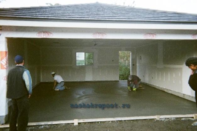 заливка пола каркасного гаража