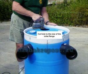 Вырезание отверстий в бочках для канализации