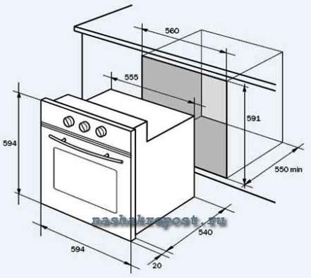 установка встроенной духовки