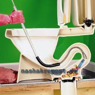 как прочистить унитаз спомощью троса
