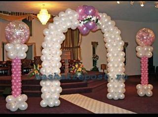 арка в праздничном зале из воздушных шаров