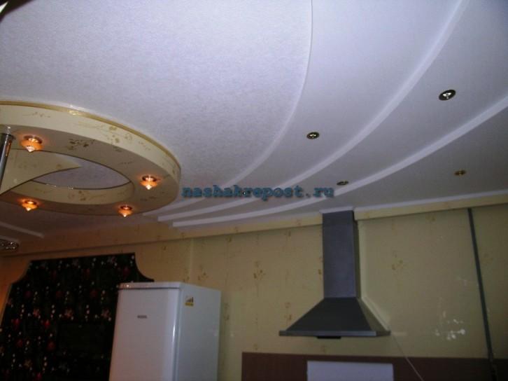 Двухуровневые потолки из гипсокартона фото для кухни своими руками 47