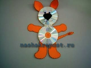 поделки из дисков  - лев