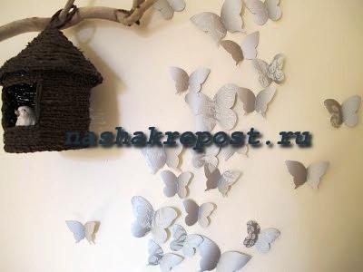 бабочки на стене из обоев