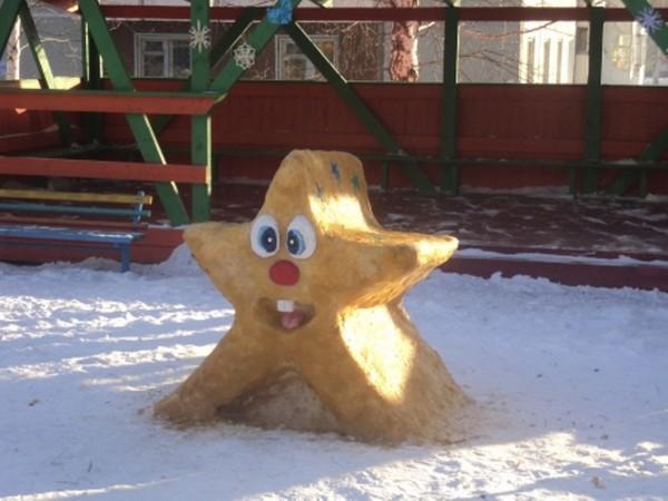 Морская звезда из снега