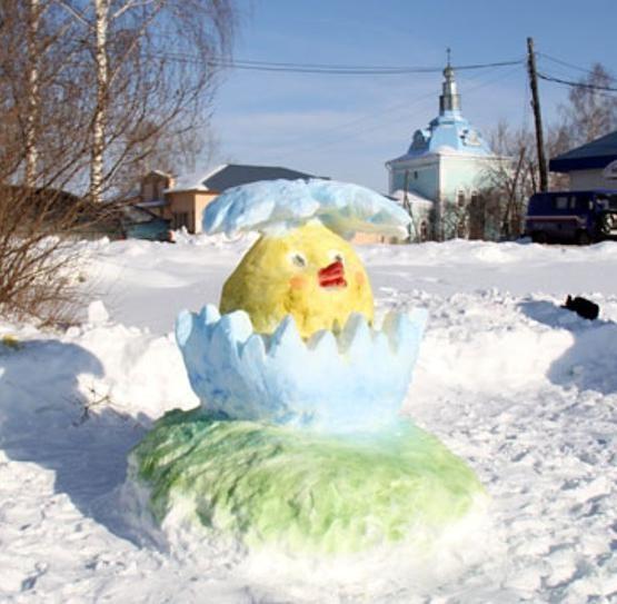 Снежная поделка цыпленок